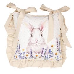 Clayre & Eef Povlak na polštář na židli  Lavander Fields s králíčkem - 40*40 cm