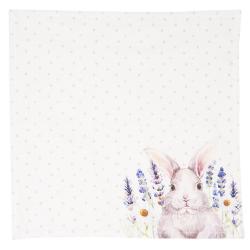 Clayre & Eef Textilní ubrousky Lavander Fields s králíčkem - 40*40 cm - 6ks