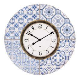 Clayre & Eef Nástěnné hodiny v designu dlaždic s modrými ornamenty – Ø 58*4 cm / 1*AA