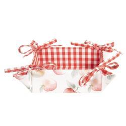 Clayre & Eef Textilní košíček na pečivo Apple Yard - 35*35*8 cm