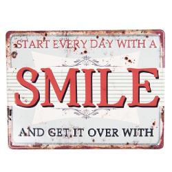 Clayre & Eef Kovová nástěnná cedule SMILE - 25*20 cm