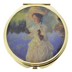 Clayre & Eef Zlaté příruční zrcátko se zámeckou paní - Ø 6 cm