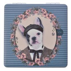 Clayre & Eef Šedo-modré příruční zrcátko s pejskem Doggy - 7*7 cm