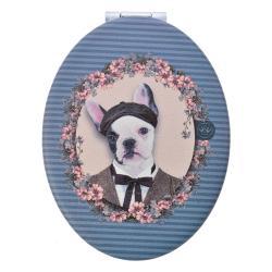 Clayre & Eef Šedo-modré příruční zrcátko s pejskem Doggy - 9*7 cm