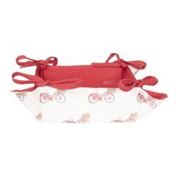 Clayre & Eef Oboustranný bavlněný košíček na pečivo Red Bicycle - 35*35*8 cm