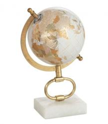 J-Line by Jolipa Glóbus na kovové zlaté noze Marble small - ∅15*27 cm