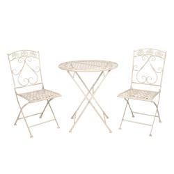 Clayre & Eef Kovový zahradní set Garren se dvěma židlemi – Ø 70*76 cm / 39*48*91 cm