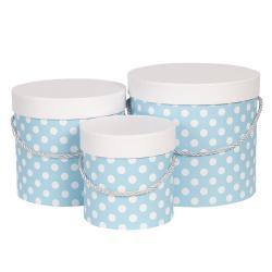 Clayre & Eef Sada 3ks modrých papírových krabic s puntíky - Ø 19*17 cm /Ø 16*15 cm /Ø 12*12 cm