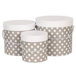 Clayre & Eef Sada 3ks šedých papírových krabic s puntíky - Ø 19*17 cm /Ø 16*15 cm /Ø 12*12 cm