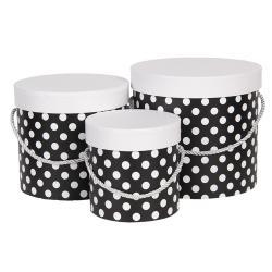 Clayre & Eef Sada 3ks černých papírových krabic s puntíky - Ø 19*17 cm /Ø 16*15 cm /Ø 12*12 cm