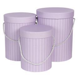 Clayre & Eef Sada 3ks fialových papírových krabic s pruhy - Ø 17*14 cm /Ø 15*23 cm /Ø 18*24 cm