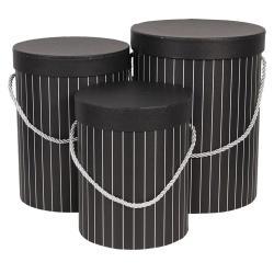 Clayre & Eef Sada 3ks černých papírových krabic s pruhy - Ø 17*14 cm /Ø 15*23 cm /Ø 18*24 cm