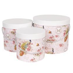 Clayre & Eef Sada 3ks papírových růžových krabic - Ø16*15 cm / Ø19*17 cm / Ø23*19  cm