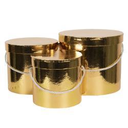 Clayre & Eef Sada 3ks zlatých papírových krabic - Ø 16*15 cm /Ø 19*17 cm /Ø 23*19  cm
