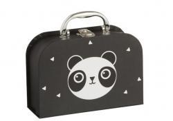 J-Line by Jolipa Černý papírový kufřík se zásuvkami Panda  - 20*14*7cm