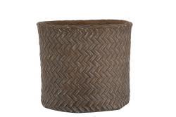 J-Line by Jolipa Hnědý cementový květináč Taupe  - imitace tkaného květináče XXL  - Ø  36*34,5*33 cm