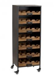 J-Line by Jolipa Černá kovová skříň s dřevěnými šuplíky na láhve vína Vine - 43,5*35*120 cm