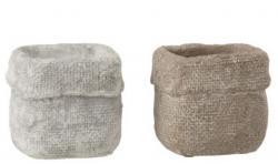 J-Line by Jolipa Set 2 betonových květináčů Ciment – 10* 10*9 cm