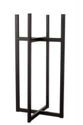 J-Line by Jolipa Černý kovový stojan na květináč L   42,8*83 cm