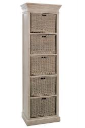 J-Line by Jolipa Dřevěná skříň s proutěnými košíky Jerome - 59*40*194 cm