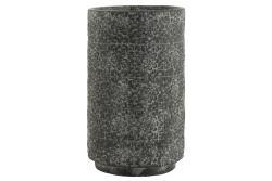 J-Line by Jolipa Šedý betonový květináč zdobený květinami - Ø 29,5*49 cm