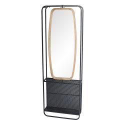 Clayre & Eef Zrcadlo v dřevěno-kovovém rámu s policemi Verene - 54*16*160 cm