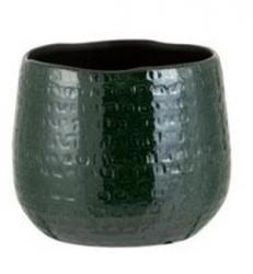 J-Line by Jolipa Tmavě zelený vzorovaný obal na květináč Seraphine M - 18*18*18,5 cm