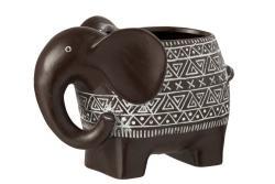 J-Line by Jolipa Hnědý terracottový květináč slon - 21,5*11*17 cm