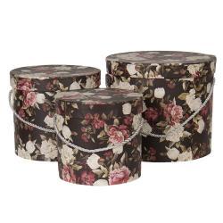 Clayre & Eef Sada 3ks černých papírových krabic s květy -  Ø 16*15 cm /Ø 19*17 cm /Ø 23*19  cm