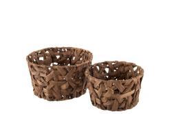 J-Line by Jolipa Sada 2 kulatých košíků z rákosu v kaštanově hnědé Orabelle - Ø 23*13 cm