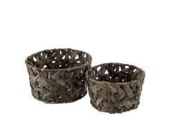 J-Line by Jolipa Set 2 košíků z rákosu Orabelle – 23*23*13 cm