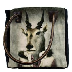 Mars & More  Sametová kabelka s koženými uchy mr. Antilopa - 32*30*19cm