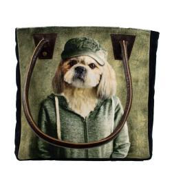 Mars & More  Sametová kabelka s koženými uchy mr. Dog - 32*30*19cm