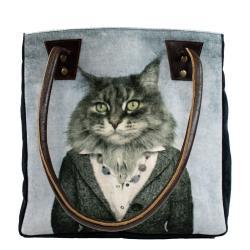 Mars & More  Koženo-bavlněná kabelka paní kočka - 32*30*19cm