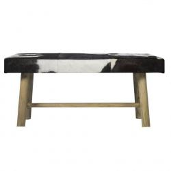 Mars & More  Dřevěná lavice s koženým sedákem Cowny bílá/černá - 95*40*45cm