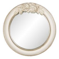Clayre & Eef Vintage nástěnné zrcadlo v krémovém rámu s růžemi Ninone – Ø 25*4 cm