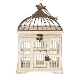 Clayre & Eef Dřevěná vintage dekorační ptačí klec - 26*19*38 cm