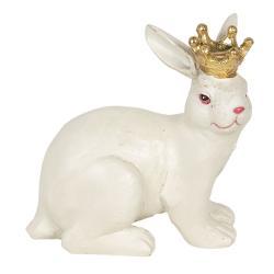 Clayre & Eef Bílá dekorace Králík s korunou - 12*7*11 cm