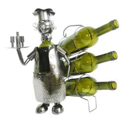 Clayre & Eef Kovový stojan na láhve vína v designu číšníka Chevalier - 32*21*33 cm