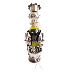 Clayre & Eef Kovový držák na víno v designu kuchaře s grilem Chevalier - 16*12*21 cm