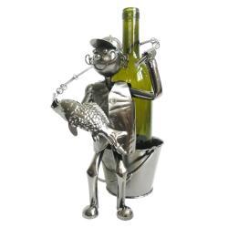 Clayre & Eef Kovový držák na láhev vína v designu rybáře Chevalier - 21*15*26 cm