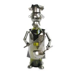 Clayre & Eef Kovový stojan na víno v designu kuchaře Chevalier - 15*14*22 cm