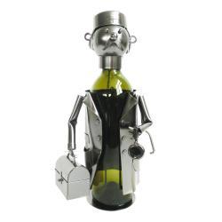 Clayre & Eef Kovový držák na láhev vína v designu doktora Chevalier - 17*13*20 cm