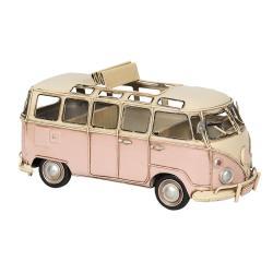 Clayre & Eef Kovový model retro růžového autobusu Volkswagen - 26*11*13 cm