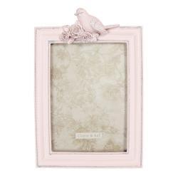 Clayre & Eef Vintage růžový fotorámeček s ptáčkem - 16*3*24 cm / 13*18 cm