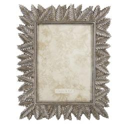 Clayre & Eef Stříbrný fotorámeček s dekorem kapradí - 21*1*25 cm / 13*18 cm