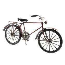 Clayre & Eef Kovový model retro kola v tmavě cihlové barvě - 29*10*16 cm