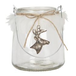 Clayre & Eef Skleněný svícen na čajové svíčky Jelen - Ø 11*13 cm