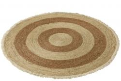 J-Line by Jolipa Přírodně-hnědý kulatý koberec z mořské trávy s třásněmi - Ø 120 cm