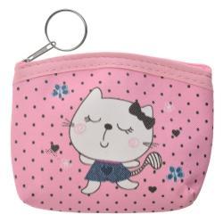 Clayre & Eef Růžová peněženka s malovanou kočičkou - 11*9 cm